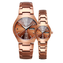 Rose Gold Couple Watch Women Men Luxury Brand Crystal Diamond Quartz Watches Lovers Clock Week Date Ladies Wrist Watch недорого