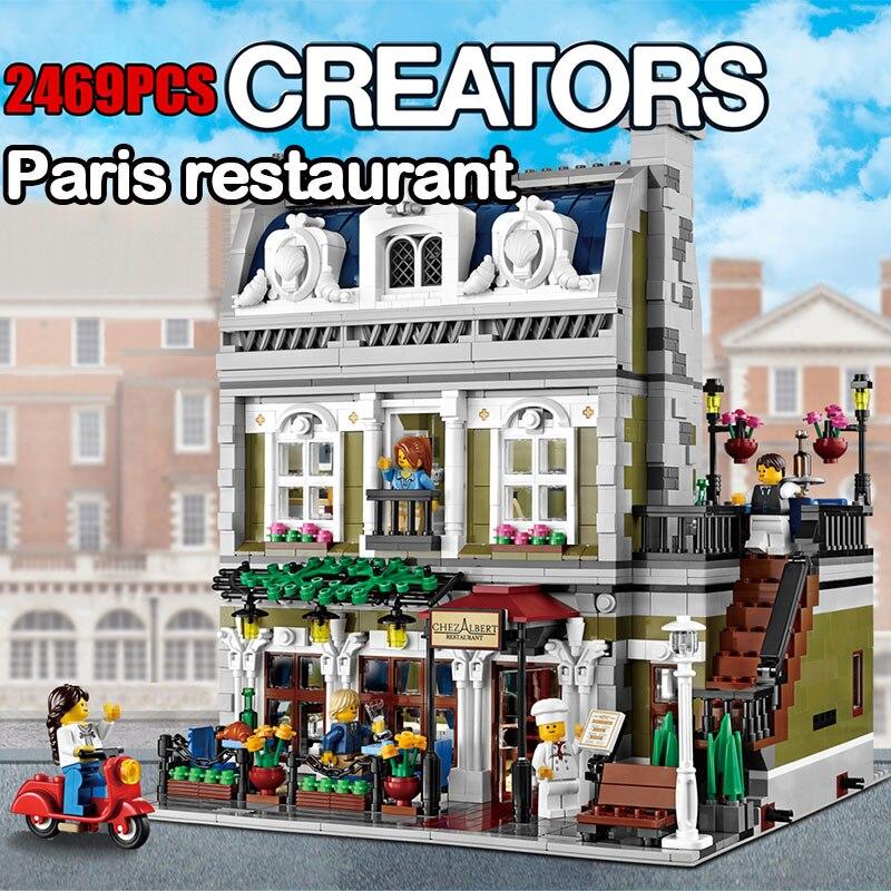 Créateurs 2469 PCS Ville Rue Restaurant Parisien Modèle Blocs de Construction Briques Jouets pour Enfants Compatible Legoed 10243