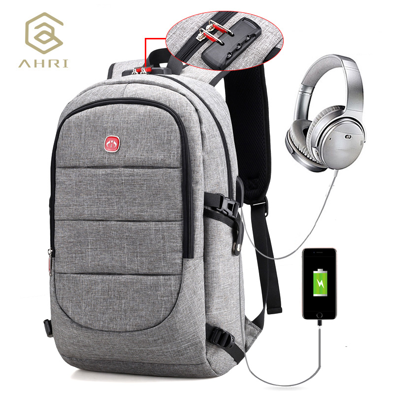 AHRI New Oxford Backpack Large Capacity Laptop Backpacks Shoulder Bag With Security Coded Lock, USB Cable And Charging Port Male