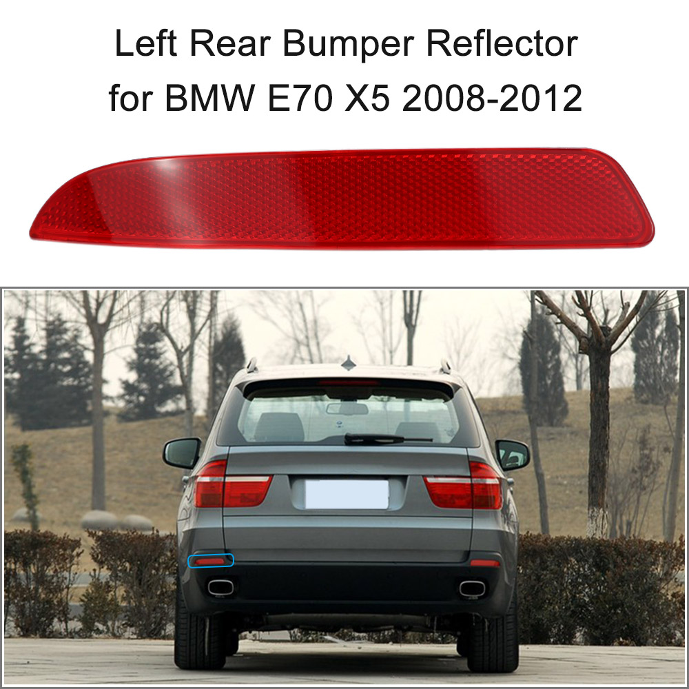 Left rear bumper reflector red lens for bmw e70 x5 2008 2012 oem 63217158949