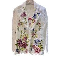 High Quality New Fashion 2018 Designer Blazer Jacket for Women Lace Cross stitch embroidery Pearl Buttons Flowers White Blazer