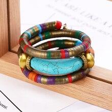Bohopan Vintage Women Multi-layer Bracelets Long Blue Natural Stone Bangles Classic National Style Bracelet For Gifts