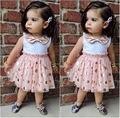 2016 Novo Verão Bonito Crianças Bebê Meninas Princesa Arco laço Rosa Polka Dot Lantejoulas Tule Tutu Verão Casual One-peças Vestido