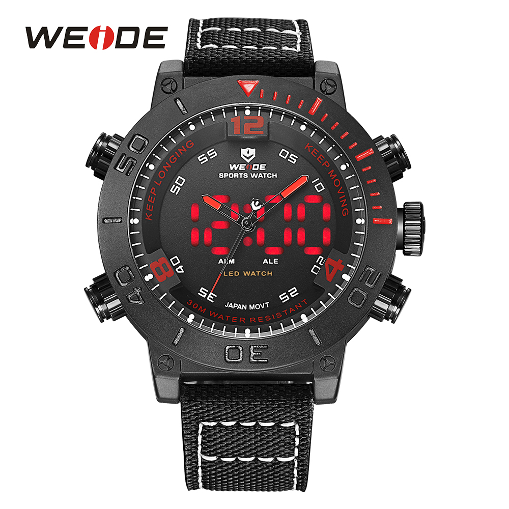 WEIDE Brand Watches Men <font><b>LED</b></font> Nylon Band Red Color Alarm Digital 24Hours Military Quartz Army Watches Sport <font><b>Uhren</b></font> Waterproof Clock
