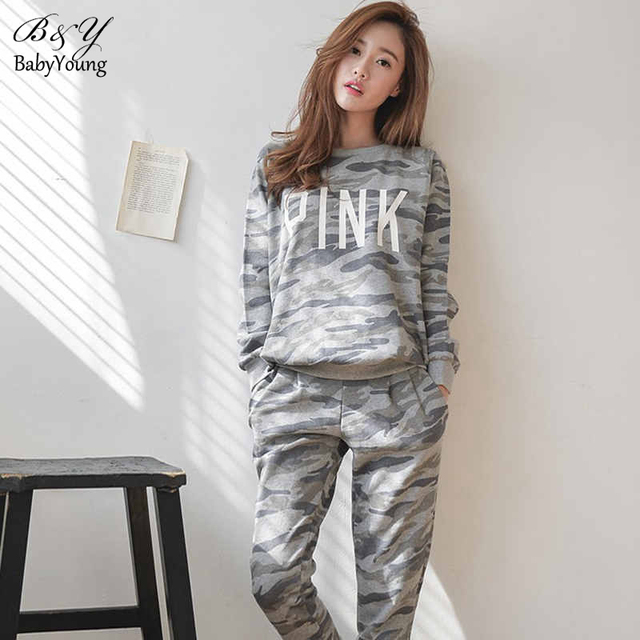 2016 Casual Women Sets Letter Pink Cotton Tracksuit Women Tops Camouflage Trousers Loose Plus Size High Quality Fitness Suit