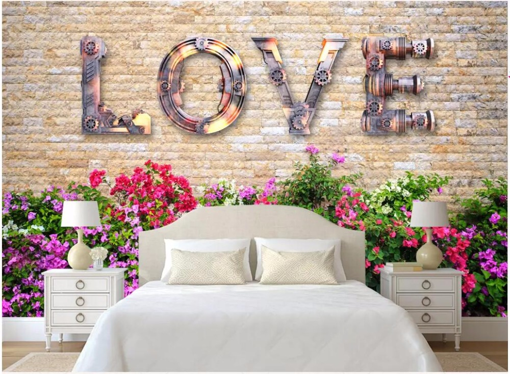 Us 1565 49 Off3d Wallpaper Custom Photo Mural European Retro Vintage Love Brick Wall Room Home Decor 3d Wall Murals Wallpaper For Walls 3 D In