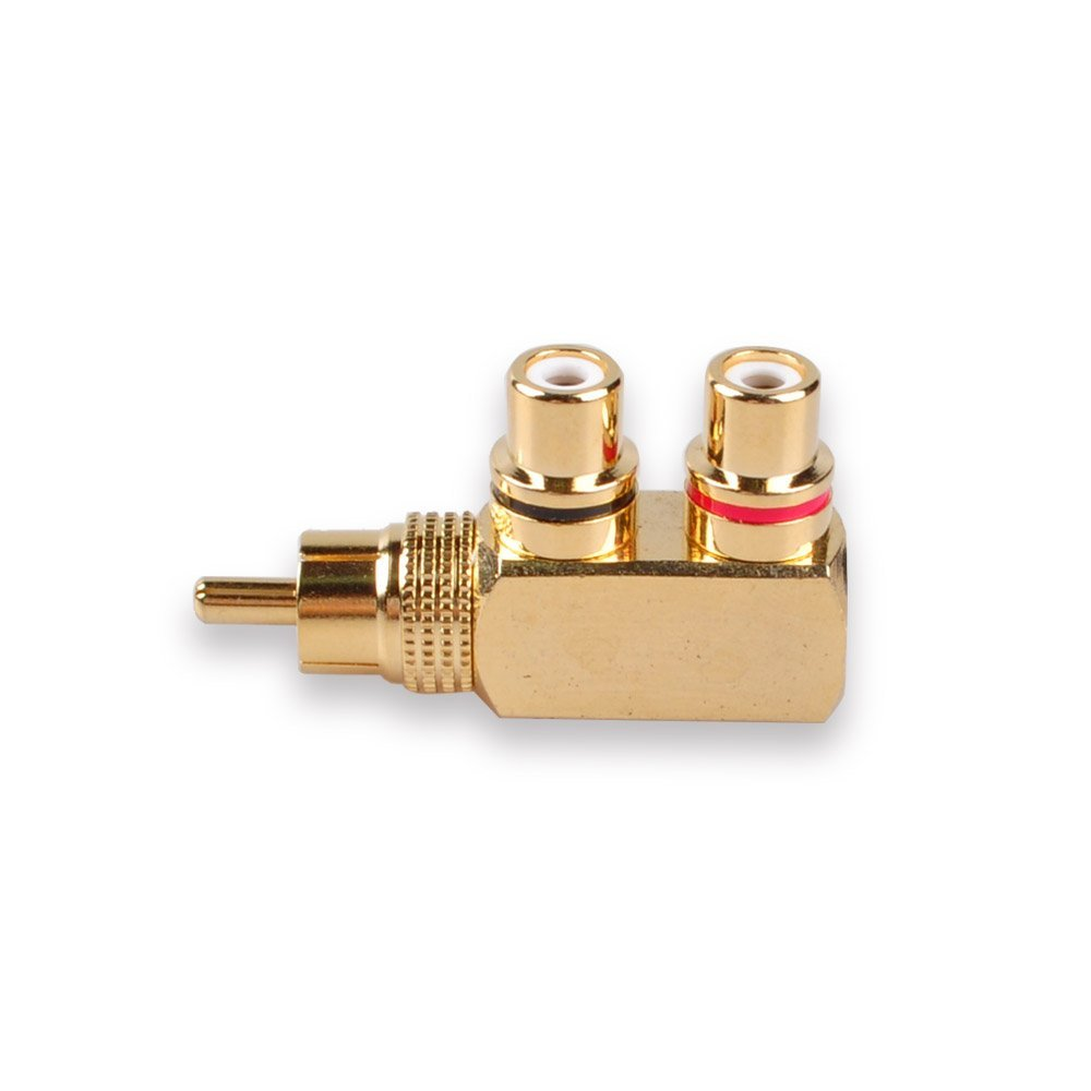 10x RCA Plug Male To RCA Jack Female Adapter Right Angle Connector Gold Plated