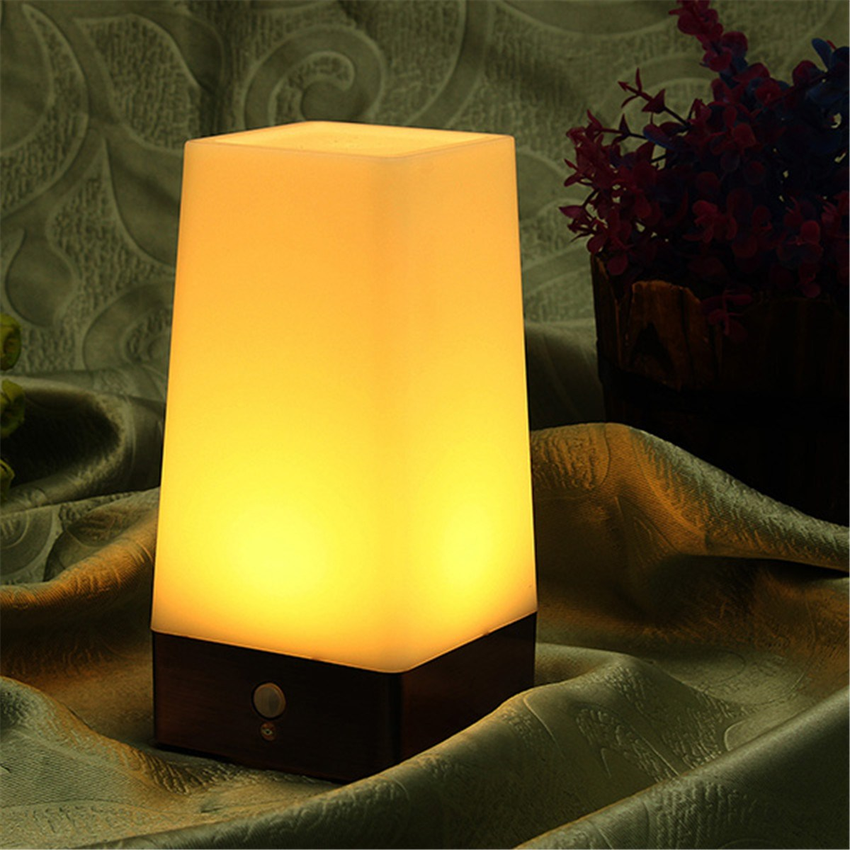 Wh wholesale vintage lead crystal table lamp buy cheap - Wireless Vintage Led Human Body Sensor Motion Night Light Dual Control Battery Powered Square Warm White