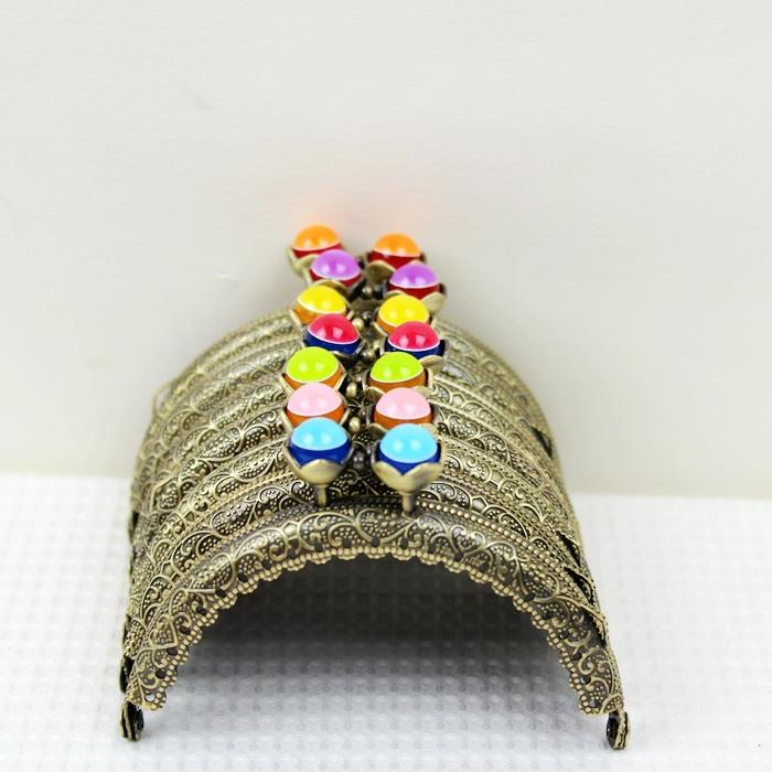 10pcs/lot Semicircle 8.5cm Lovely Lotus Pearl Candy Bead Bronze Thicken Metal Purse Frame Kiss Clasp 13 Colors Fk01 Freeshipping Convenient To Cook Bag Parts & Accessories