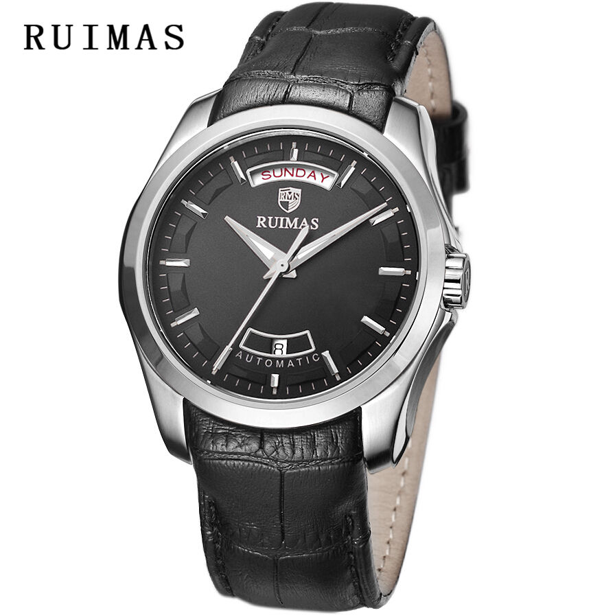 Men Business Mechanical Watch Calendar Mens Classic Luxury Watches Leather Wristwatch Top Brand Male Clocks RUIMAS Reloj Hombre mce sports mens watches top brand luxury genuine leather automatic mechanical men watch classic male clocks high quality watch