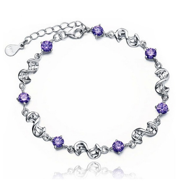 Purple Charm braclets For women Silver plated Bracelets & Bangles Bracelet