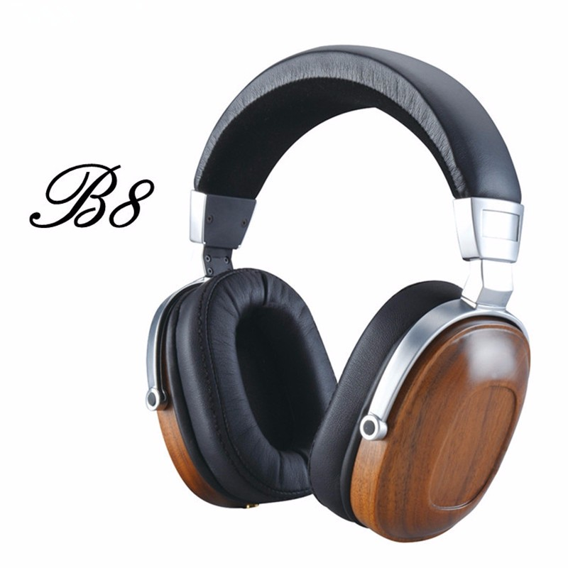 Original BossHifi B8 HiFi Wooden Metal Headphone Black Mahogany Headset Earphone With Beryllium Alloy Driver And protein Leather