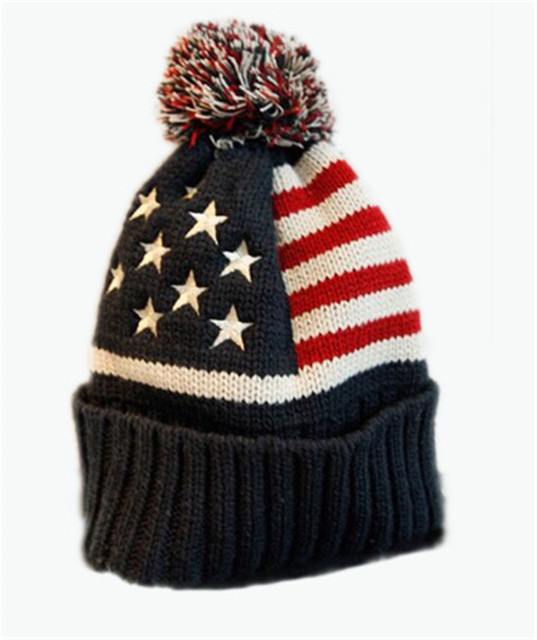 2017 New Winter Unisex knit Beanie hat USA flag pattern pom pom ...