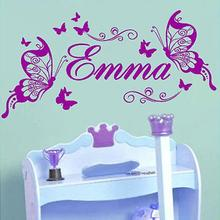 Custom made name DIY Vinyl Wall Decals Butterfly Fashion Wall Art Nursery Girl Wall Stickers for Kids Rooms Home Decor