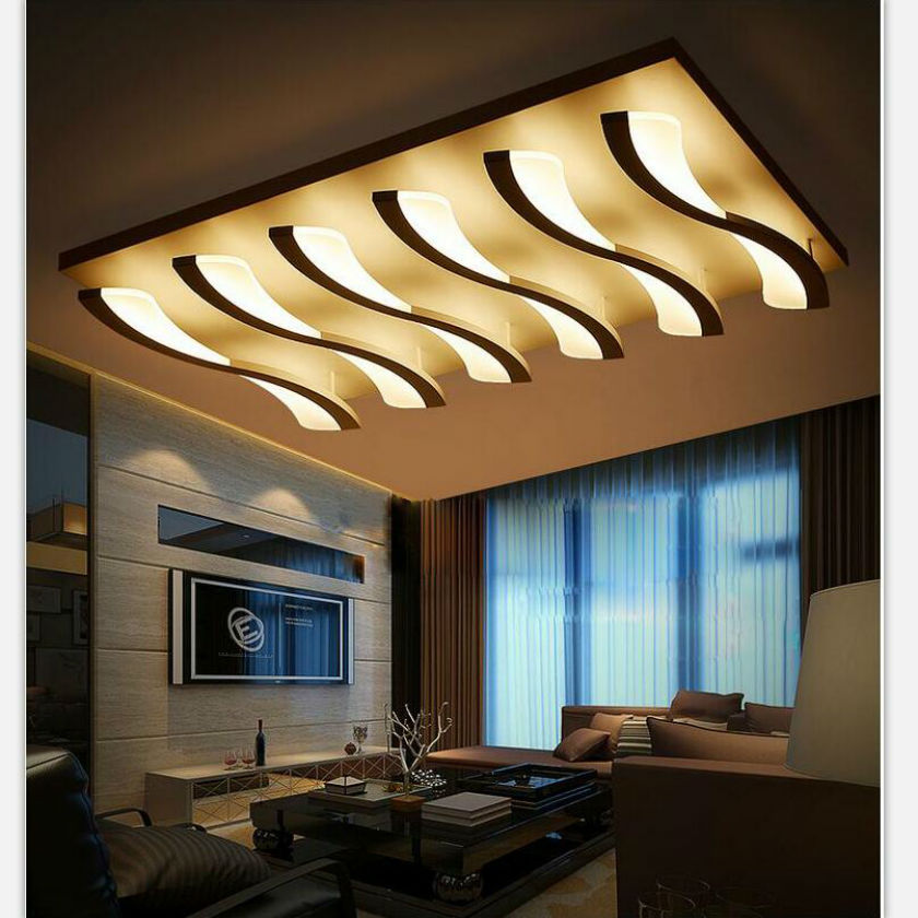 White Led Ceiling Light Fixture Rectangle Re Large Flush Mounted Circles Lamp For Dining Sitting Bedroom