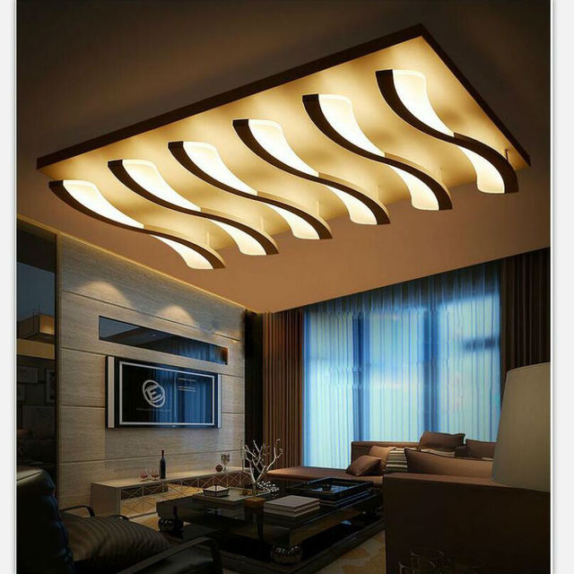 d438f383d444 White LED Ceiling Light Fixture LED rectangle Lustre Light Large Flush  Mounted LED Circles Lamp for dining sitting bedroom