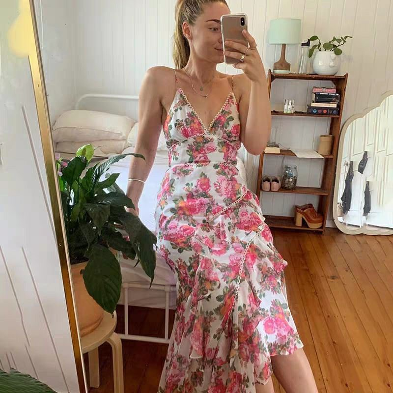 Femmes robe imprimée florale été plage fête Spaghetti sangle Maxi robes Sexy col en V robe de soleil robes
