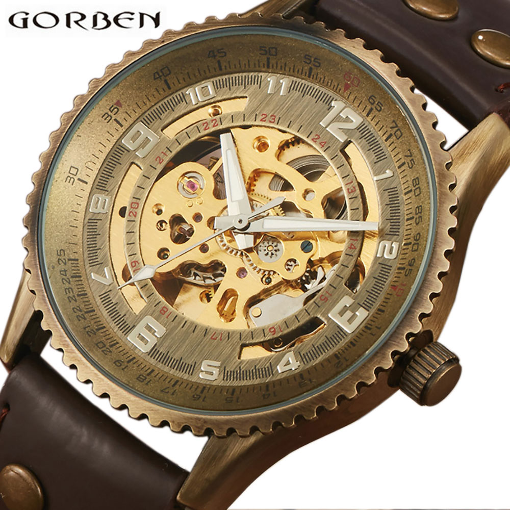 Steampunk Skeleton Retro Bronze Automatic Watch Men Self Wind Vintage Leather Mechanical Wristwatch Role Luxury Top Brand 2017 k colouring women ladies automatic self wind watch hollow skeleton mechanical wristwatch for gift box