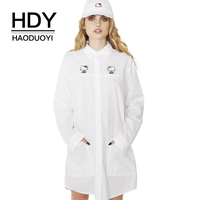 HDY Haoduoyi Brand 2017 Women Solid White Casual Sweet Dresses Shirt Style Hello Kitty Embroidery Hollow