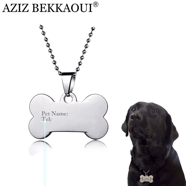 engrave logo identification tag necklace stainless steel carve dog
