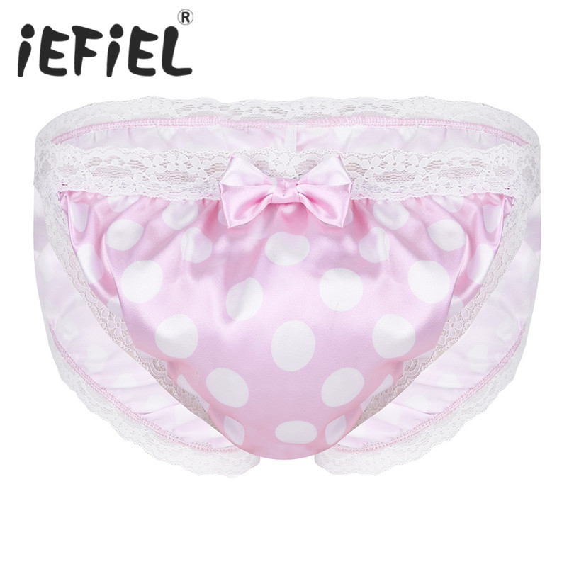 Sexy Mens Lingerie Shiny Polka Dot Lace Floral Back Ruched High Cut Low Rise Bikini Sissy Briefs Underwear for Self Pleasure
