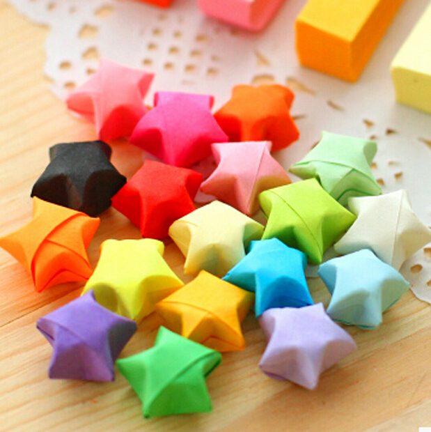 4Y4A 10set DIY Set Off Paper Powder Stars Wishing Bottle Long Straw Stacked Origami Star Lucky Fold In Memo Pads From Office School