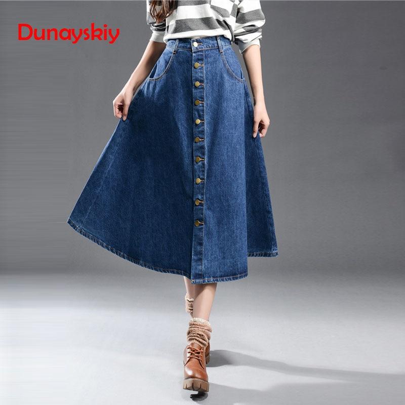 1a1e9f6fbc1 Купить Dunayskiy женская одежда синий плюс Размеры Джинсовые юбки Высокая  Талия карманы однобортный длинные джинсы юбки модные линии юбки Цена Дешево.