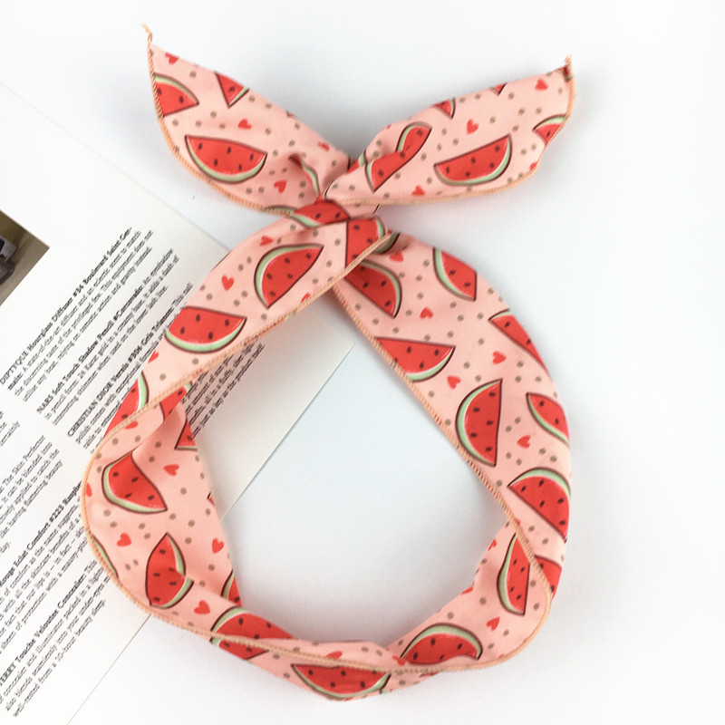 1PC 2018 New Women Cute Print Watermelon Rabbit Ear Headband Hair Band Girl Hair Ornament   Headwear   Hair Accessories