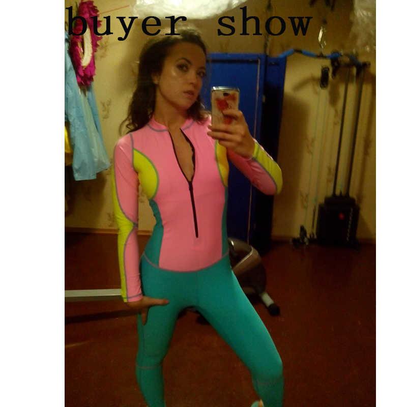 2017 Seksi Kadın Mayo Spor Patchwork Renk Dalış Takım Ince Bayan Bir Adet Mayo Kızlar Fermuar Bodysuit Kadın Mayolar
