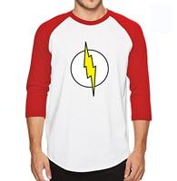 The Big Bang Theory Sheldon Cooper The Flash Three Quarter Sleeve T Shirt Men 100 Cotton