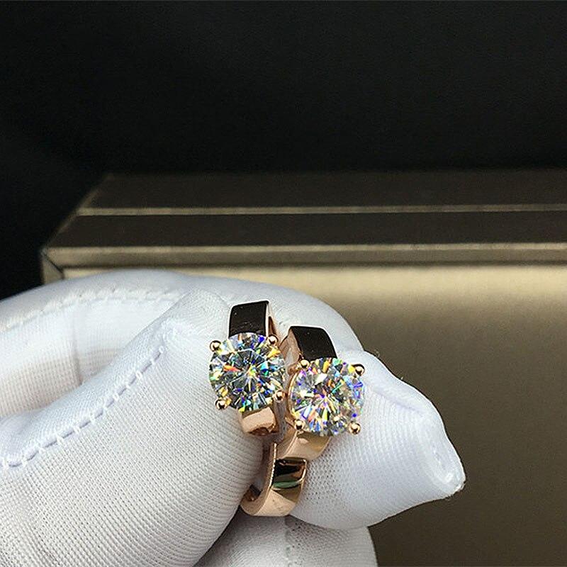 Centrum 1CT 6.5mm 18 K żółte złoto DF kolor okrągły Moissanite Solarite kolczyki dla kobiet ślub rocznica kolczyki w Kolczyki od Biżuteria i akcesoria na  Grupa 1