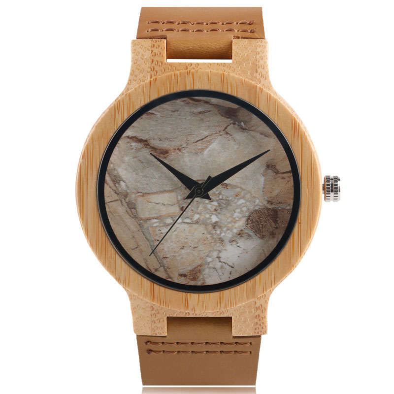 Men Watches Natural Wooden Handmade Bamboo Genuine Leather Strap Marble pattern Dial Ladies Simple Analog Watch
