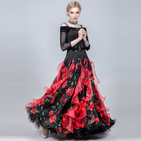 ballroom dance dress women waltz dress fringe Spanish dress flamenco costumes dance wear women print swing long dress