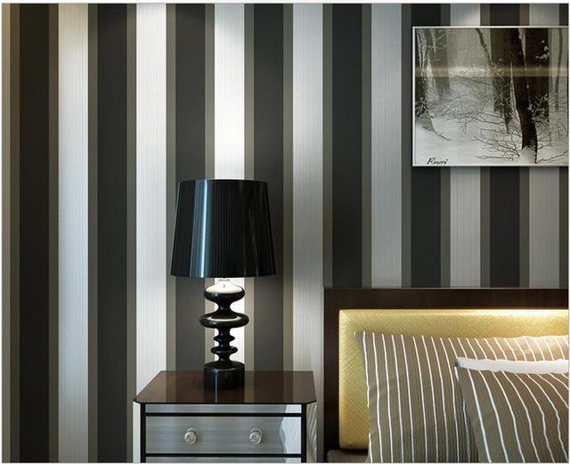 Woonkamer Zwart Grijs : Moderne minimalistische zwart grijs gestreepte geweven behang