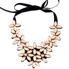 Crystal Flower Necklaces 2019 Vintage Choker Collar Ribbon Bead Pendants Chain Statement Necklaces Women Jewelry Gifts Drop Ship(China)