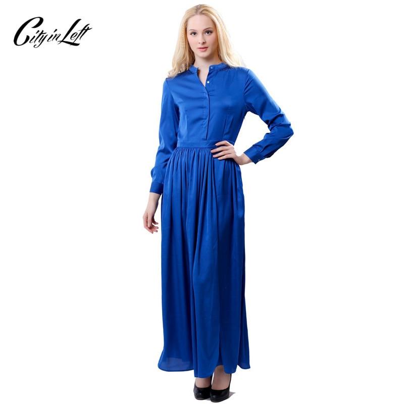 City 2018 Spring Women Fashion Long Shirt-Dress Long Sleeve Black Blue Glossy Vestido Chiffon Slim Pleated Party Maxi Dress 1037