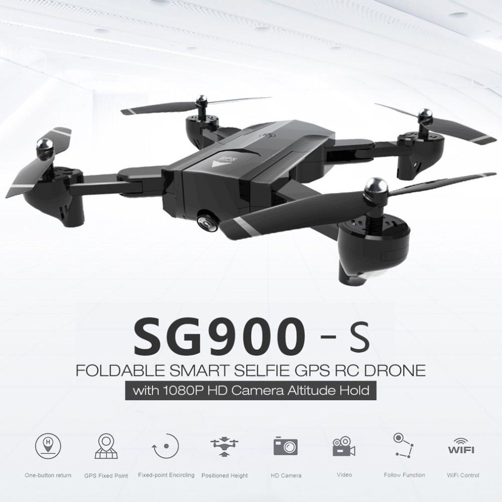 SG900-S 2.4G RC Drone Foldable Selfie Smart GPS FPV Quadcopter with 1080P HD Camera Altitude Hold Follow Me One Key Return skylarpu white rear cover for garmin edge 510 510j bicycle speed meter back cover with battery repair replacement free shipping