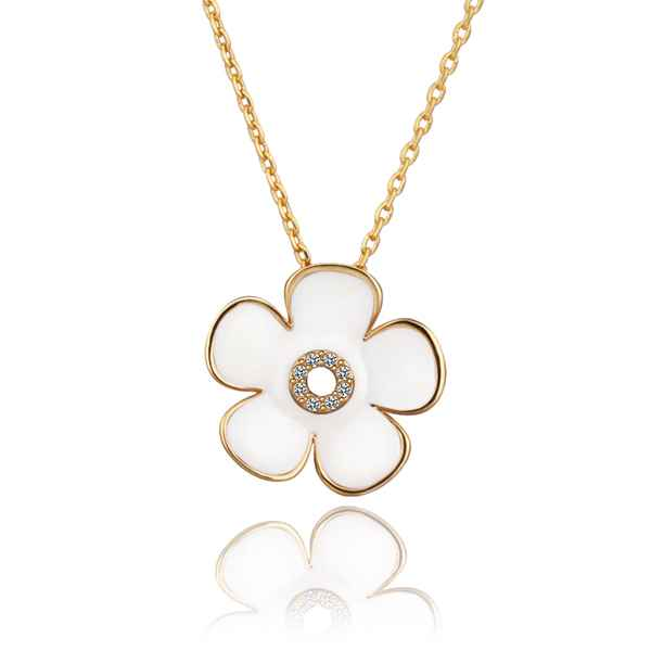 Free Shipping 2016 Lovely jewelry Gold Plating necklaces White flowers bead necklace collier plastron SMTPN620