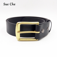 Sue Che 2018 New Belts High Quality Pu Leather Belt With Brass Pink Buckle Easy Fix