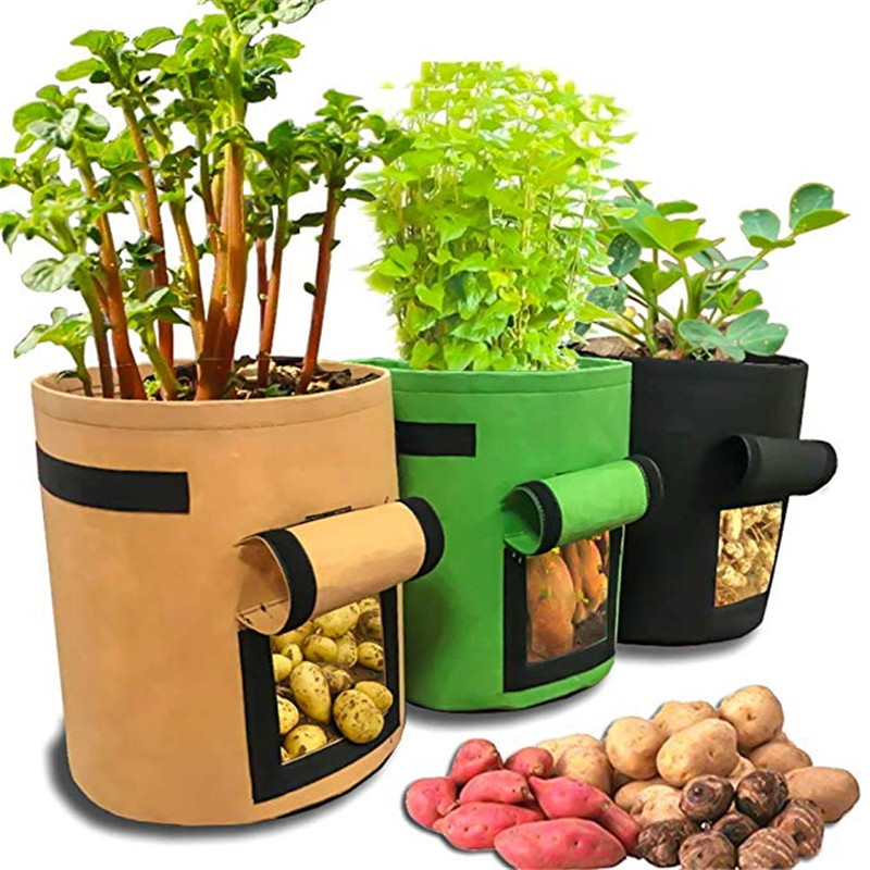 1Pcs Woven Fabric Bags Potato Cultivation Planting Garden Pots Planters Vegetable Planting Bags Grow Bag Farm Home Garden Bag