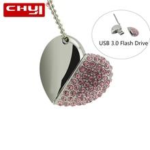 Chyi USB3.0 Flash Drive кристалл «любящее сердце» 8 ГБ 16 ГБ Pendrives 32/64 ГБ накопитель Memory Stick USB флэш-диск, флэш-накопитель для подарка