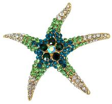 2015 Europe and large  Rhinestone   brooch personality starfish alloy collar pin brooch jewelry Women