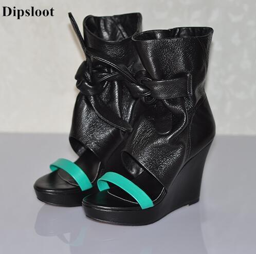 Dipsloot 2017 chaud bout ouvert à lacets femme d'été sandales mode mixte couleur robe chaussures femme chaussures à semelles compensées dame sandales bottes