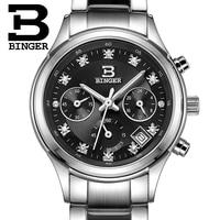 Suíça binger relógios femininos de luxo quartzo relógio à prova dwaterproof água aço inoxidável completo cronógrafo relógios de pulso BG6019-W