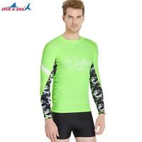 Protection Men's Basic Skins Long Sleeve Rashguard Top Athletic Shirts Compression & Base Layer for Wetsuits Rash Guard t shirts
