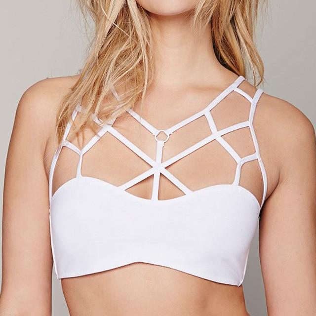 cfc5bfec4cb71 New Arrival Mesh White Cotton Bralette Strappy Tops Separate Women Bandage  Bathing Suit Beach Wear Underwear Top Girls Bra XL