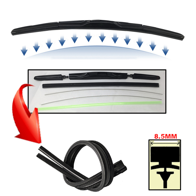 2Pcs/lot AAA-Grade Car Auto Vehicle Soft Rubber Refills For Front Windshield Hybrid Wiper Blades 8.5mm 14″15″16″18″20″22″24″26″