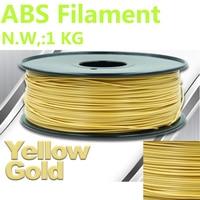 Yellow gold color 3d printer filament abs 3d filament PinRui Brand ABS 1.75mm 1kg 3d plastic filament impressora 3d pen plastic