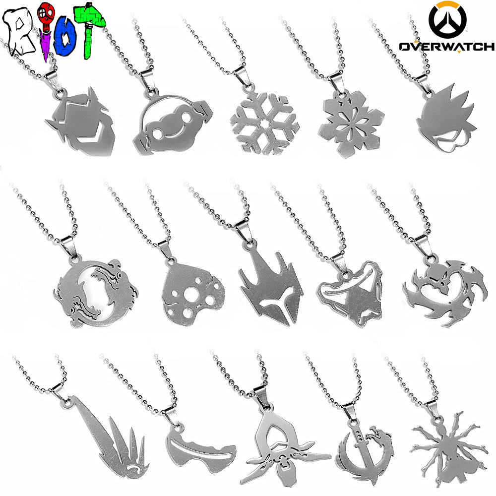 FPS Game Overwatch 15 style Hero Logo bead chain Necklace Genji Lucio Tracer Hanzo Symmetra Reaper Mercy charms gift Pendant