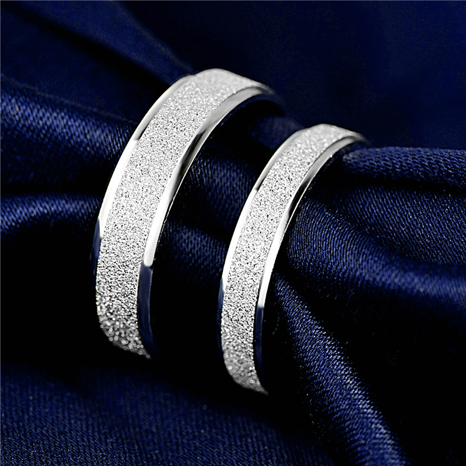 HTB1BvS0e0HO8KJjSZFHq6zWJFXar 925 Sterling Silver Rings Woman Fashion Simple Couple Matte Rings Charming Female Lovers Jewelry